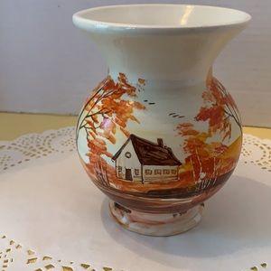 Handpainted Ceramic Vase Cottage Scene Fall Colors